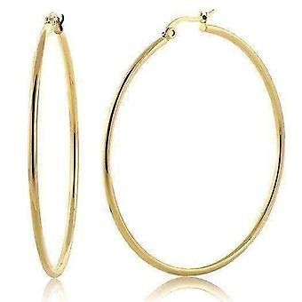 Gold plated tubular stainless steel classic hoop earrings available in four sizes