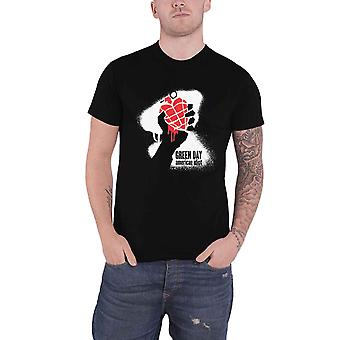 Green Day T Shirt American Idiot Spray Paint Band Logo new Official Mens Black