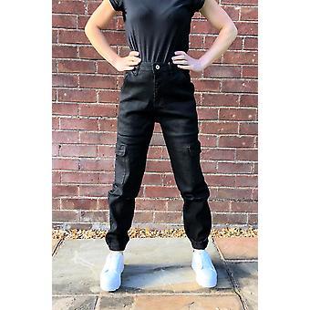 High Waist Cuffed Cargo Pants Utility Trousers