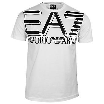 Ea7 emporio armani men's white large logo t-shirt