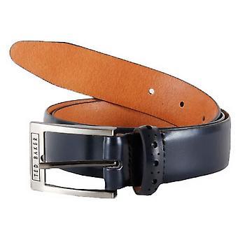 Ted Baker Waffler Leather Belt - Navy