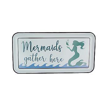 White Enamelware Mermaids Gather Here Metal Wall Sign Coastal Decor