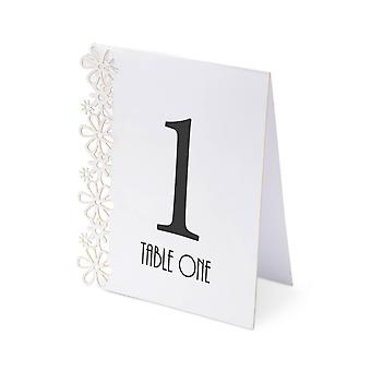 White Wedding Table Numbers 1-15 - Laser Flower