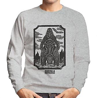 Godzilla Woodcut Design Men's Sweatshirt