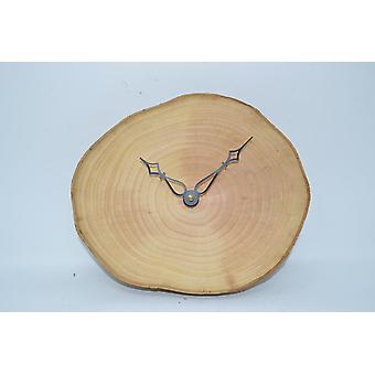 Trä väggklocka trä klocka klocka träd skiva träd skiva klocka 25 x 21 cm Tillverkad i Österrike klocka aska wallclock klocka gåva trä dekoration