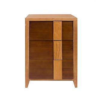 Rebecca Huonekalut Comodino Chest 3 Ruskea Laatikot Wood 75x50x40