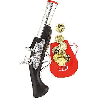Pistola pirata con accessorio di monete borsa bambini carnevale Corsair