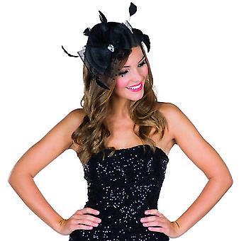 Svart Fascinator miniatyr hatt pannband svart tyll hatt