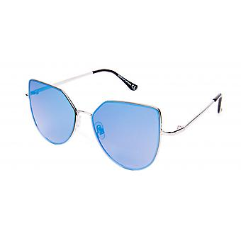 Sunglasses Unisex Silver with Blue Lens (19-021)