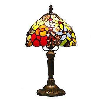 Tiffany Table Color Glass Lamp Shade, Resin Base Mediterranean Style