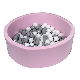Różowy pit kulowy 90 cm ze 150 kulkami białymi i szarymi