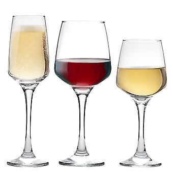 Vajilla de argón 'Tallo' Copas Rojas, Blancas y Champagne - 18 Pieza Set 400ml, 295ml, 230ml