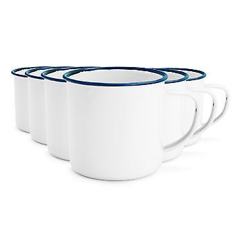 Rink Drink White Émail Tea / Coffee Mugs - 350ml - Blue Trim - Pack de 6