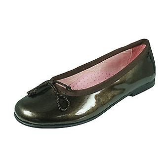 Angela Brown Olivia Toddler Girls Patent Leather Ballerina Shoes Pumps - Brown