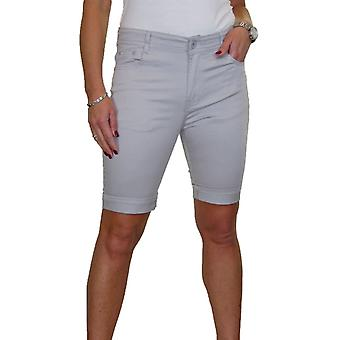 Kvinder & apos;s Mid Rise Over Knæet Stretch Jeans Style Chino Shorts Skru op Cuff 10-20