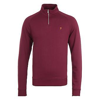Farah Jim Quarter-Zip Raspberry Sweatshirt
