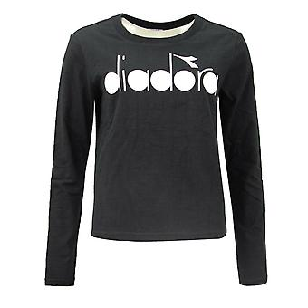 Diadora Womens Crew Neck Long Sleeve T Shirt Black 102.174394 80013 A15E