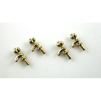 Dolls House Miniature Accessory Spare Parts 4 Metal Taps Faucets Gold Brass