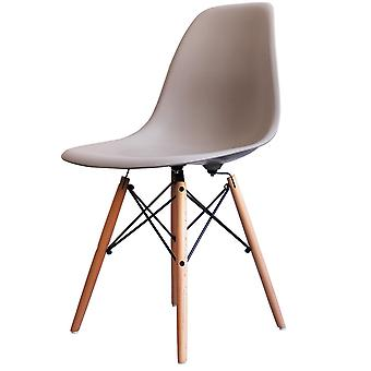 Charles Eames Style Light Grey Plastic Retro Side Chair - Natural Wood Legs