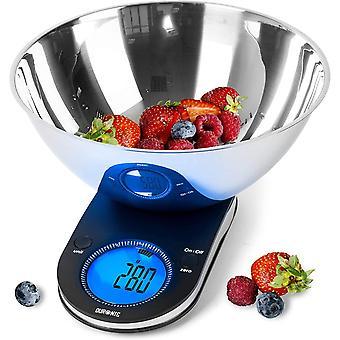 Duronic Digital Kitchen Scales KS5000 | 3L Bowl | 5KG Capacity | Large Digital Display |