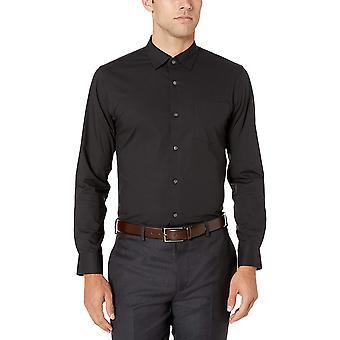 Essentials Erkek ve apos;ince-fit kırışıklık-dayanıklı streç elbise gömlek, siyah...
