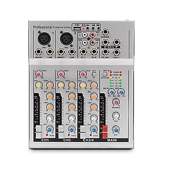 4 Channels Audio Mixer USB DSP Reverberation bluetooth DJ Sound Mixing Console MP3 Jack Karaoke Ampl