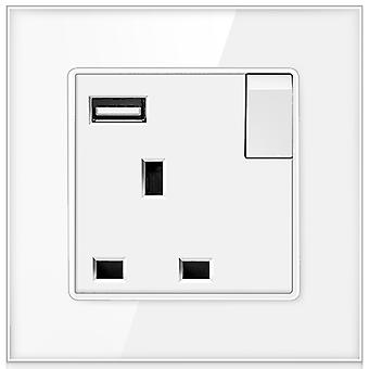 13a Uk Standard Glass Panel Wall Power Switched Socket With Usb