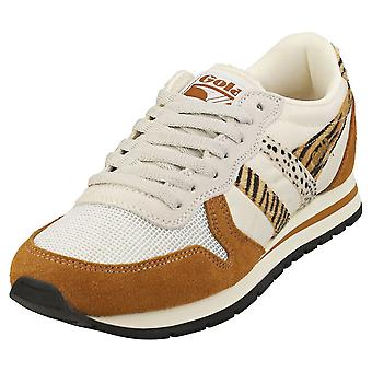 Gola Daytona Safari Womens Mode utbildare i Off White Caramel