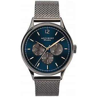 Accurist 7285 azul y pistola metal gris acero inoxidable reloj de hombre