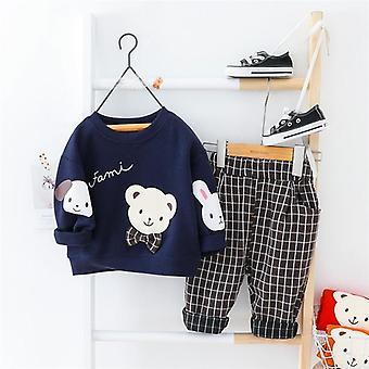 Baby kläder sätter våren söt tecknad t shirt byxor småbarn spädbarn semester