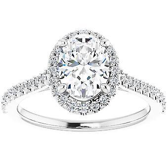 1 1/2 Ct Halo Diamond & Oval Moissanite Verlovingsring Wit Goud