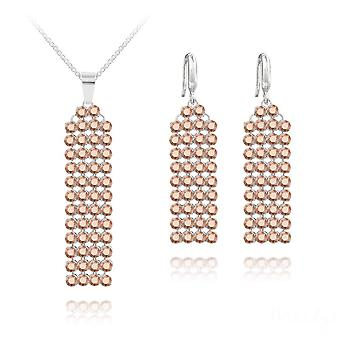 Silver jewelry set with  rose gold swarovski crystals
