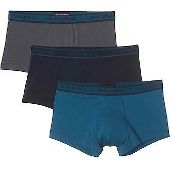 Emporio Armani Logo Cotton Stretch 3-Pack Trunk, Grey / Marine / Oil Blue, Medium