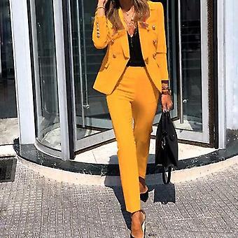 Office Lady Solid Color Bleiseri takki ja pitkät housut kaksiosainen setti