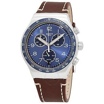 Swatch CASUAL BLUE Chronograph Quarz Blau Zifferblatt Herrenuhr YVS466