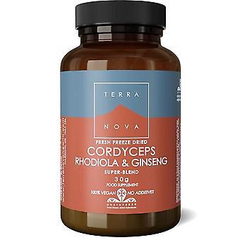 Terranova Cordyceps, Rhodiola & ginseng Super-Blend poeder 30g (T2381)