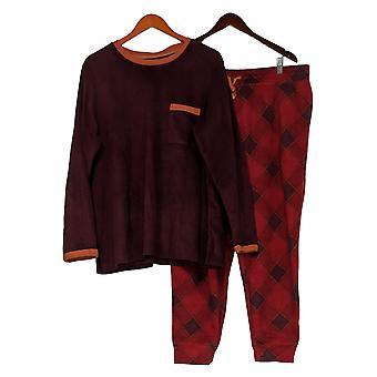 Cuddl Duds Donna Plus Fleecewear Jogger Pigiama Set Rosso A381825