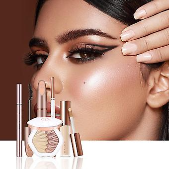 5 Piece set of scrumptious eyes makeup and cosmetics including eyebrow mascara eyeliner full coverage liquid concealer, highlighter