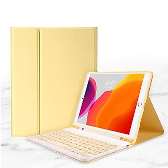 """ABEIFAN Keyboard Cover for iPad 10.2 """"(2019) - QWERTY Multifunction Keyboard Bluetooth Smart Cover Case Sleeve Yellow"""