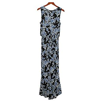 Vince Camuto Dress Ruffle Cuff Woodblock Floral Jumpsuit Black A308800