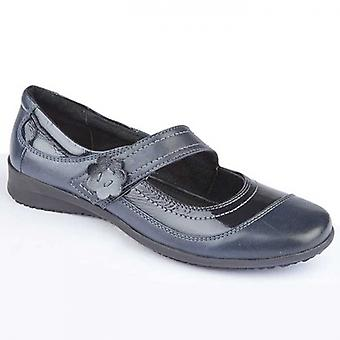 Mod Comfys Elsa Ladies Leather Mary Jane Shoes Navy