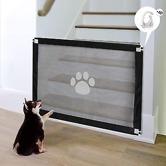Dog Magic Gate Pet Stair Gate 80 X 100cm Pet Safety Gate Easy Install Lockable Mesh Guard for Dog