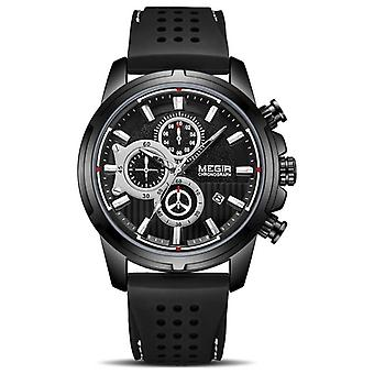 Sport Chronograph Silicone Men's Waterproof Big Dial Watch
