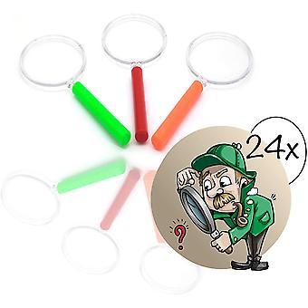 FengChun 24x Lupen Set Kinder gemischte Farben| Lupe f. Forscher Detektive zum Erforschen von