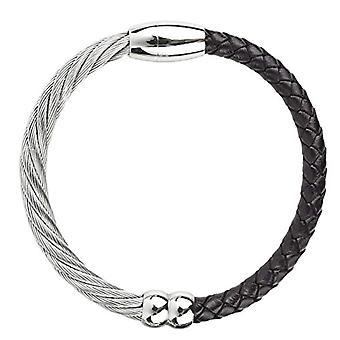 KOVAe - Bracelet unisexe en cuir tressé et acier inoxydable, avec fermeture magnétique