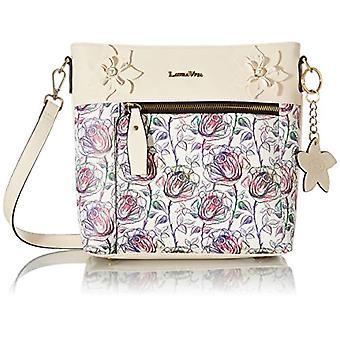 Laura Vita 4240, Crossbody Bag, Clutches, Flowers. Woman, White, Medium