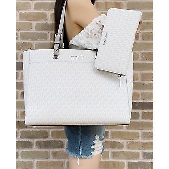 Michael kors Jet Set große Pendler Tasche hell weiß mk grau + xl Reißverschluss Brieftasche