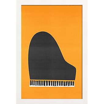 JUNIQE Print - Grand Piano - Retro Poster in Grey & Orange