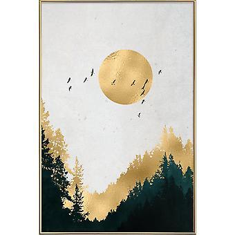 JUNIQE Print - Guldmåne - Skogsaffisch i gult och grått