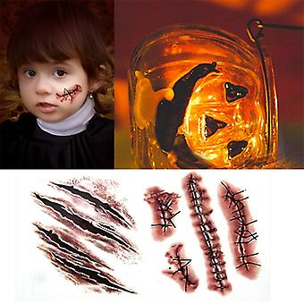 Body Makeup Tattoo Stickers Halloween Terror Realistic Stitched Injuries Wounds Non-toxic Long Lasting Temporary Tattoo Stickers